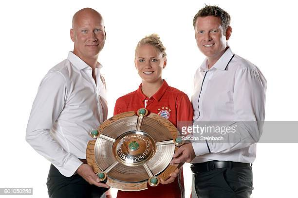 General manager of Allianz insurance Frank Pohlmann Leonie Maier of FC Bayern Muenchen and general manager of Allianz insurance Robert Spulak pose...