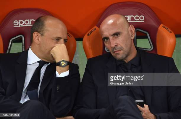 General Manager of AS Roma Mauro Baldissoni and AS Roma Sport Director Ramon Rodriguez Verdejo commonly known as Monchi prior the Serie A match...