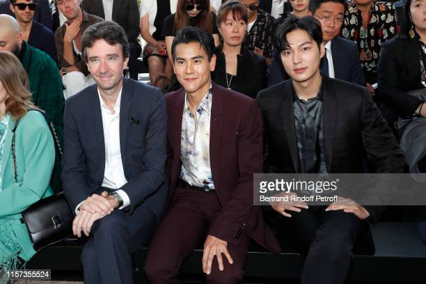 General manager of Berluti Antoine Arnault actor Eddie Peng and actor Lee Min Ho attend the Berluti Menswear Spring Summer 2020 show as part of Paris...