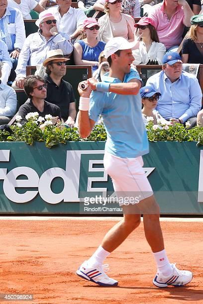 General manager of Berluti Antoine Arnault and businessman Xavier Niel watch Novak Djokovic whyle the Men's Final of Roland Garros French Tennis Open...