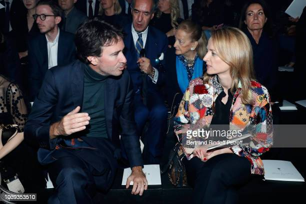 General manager of Berluti Antoine Arnault and his sister Louis Vuitton's executive vice president Delphine Arnault attend the Christian Dior show as...