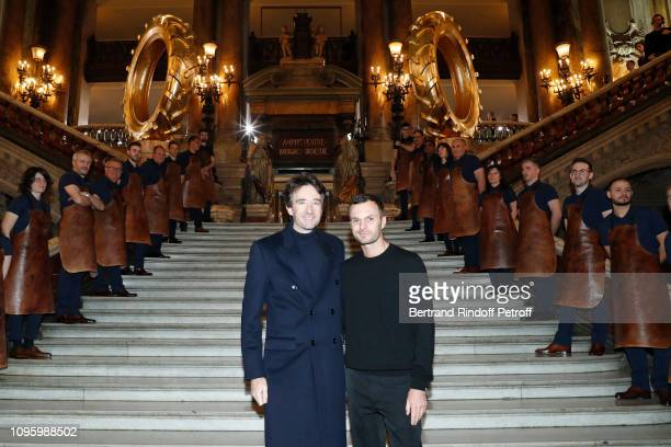 General manager of Berluti Antoine Arnault and Stylist Kris Van Assche attend the Berluti Menswear Fall/Winter 20192020 show as part of Paris Fashion...