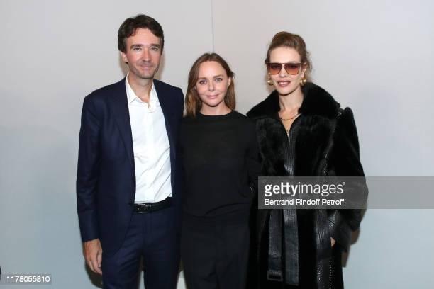 General manager of Berluti Antoine Arnault, Stylist Stella McCartney and Natalia Vodianova pose after the Stella McCartney Womenswear Spring/Summer...