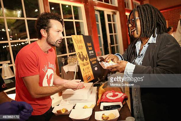 General Manager of Federal Donuts Brien Murphy talks with Whoopi Goldberg about Federal Donuts' dish Tiny Fried Chicken Sandwiches at Chicken Coupe...