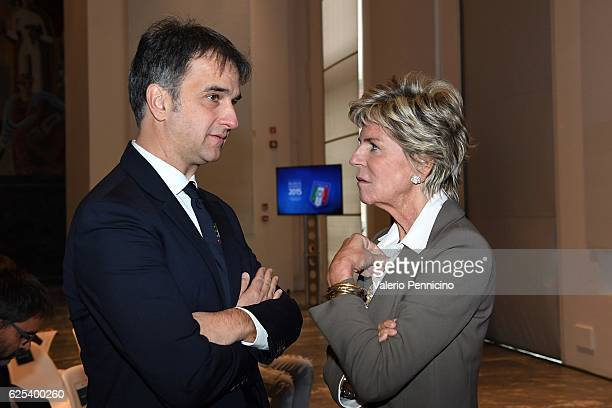 General manager of FIGC Michele Uva and FIFA Council member Evelina Christillin attend the unveiling of the 'Bilancio Integrato 2015' Report on...