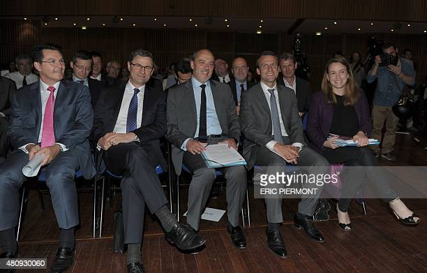 General Manager of French mobile operator Bouygues Telecom Olivier Roussat French group NumericableSFR CEO Eric Denoyer Orange CEO Stephane Richard...
