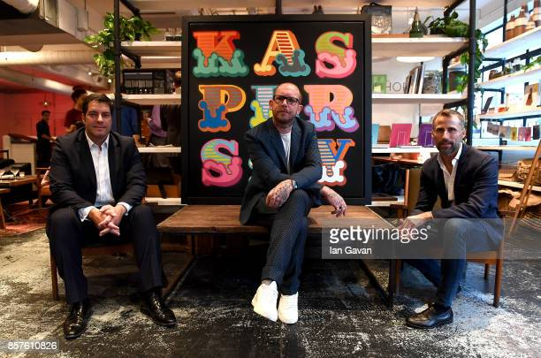 General Manager of Kaspersky Lab UK Adam Maskatiya, Ben Eine and Marketing Director Europe of Kaspersky Lab Aldo Del Bo attends the launch of the ad...