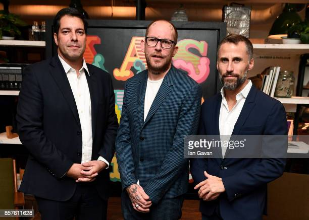 General Manager of Kaspersky Lab UK Adam Maskatiya Ben Eine and Marketing Director Europe of Kaspersky Lab Aldo Del Bo attends the launch of the ad...