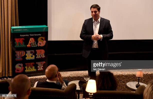 General Manager of Kaspersky Lab UK Adam Maskatiya speaks at the launch of the ad campaign film 'Back To Work' sealing the artistic collaboration...