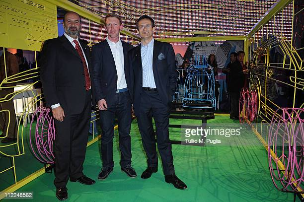 General manager of Land Rover Italy Arturo Frixa Designer Benedict Radcliffe and President of JaguarLand Rover Italy Daniele Maver attend the...