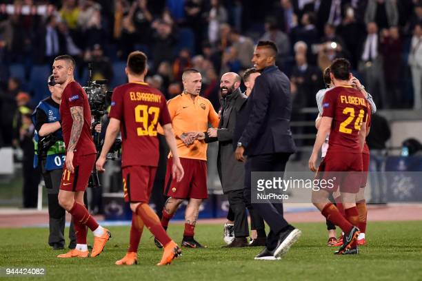 General manager of Roma Monchi celebrates the victory at the end of the UEFA Champions League Quarter Final match between Roma and FC Barcelona at...