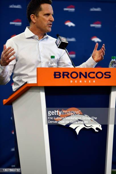 General Manager of the Denver Broncos George Paton answers media questions after introducing Broncos cornerback Ronald Darby and Broncos running back...