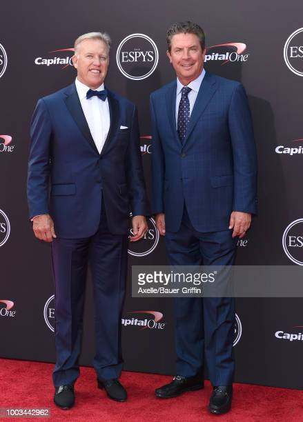 General manager of the Denver Broncos John Elway and former NFL quarterback Dan Marino attend The 2018 ESPYS at Microsoft Theater on July 18, 2018 in...