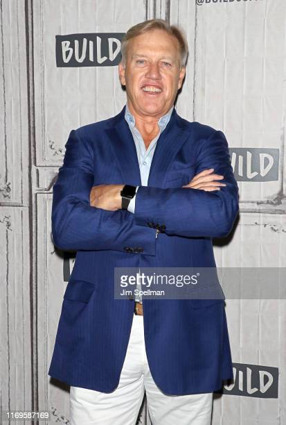 General Manager of the Denver Broncos John Elway attends the Build Series to discuss the upcoming NFL season at Build Studio on August 22 2019 in New...