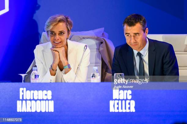 General Manager of the French Football Federation and Executive Committee member Florence Hardouin and President of RC Strasbourg and executive...