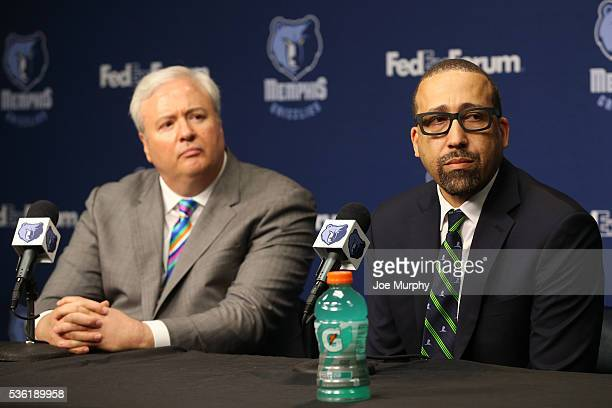 General Manager of the Memphis Grizzlies Chris Wallace introduces David Fizdale as head coach during a press conference on May 31 2016 at FedExForum...