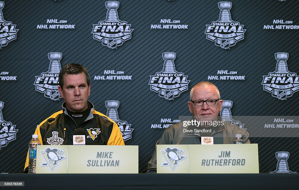 General Manager of the Pittsburgh Penguins Jim Rutherford and Head Coach Mike Sullivan both speak during Media Day prior to the 2016 NHL Stanley Cup Final between the Pittsburgh Penguins and San Jose Sharks May 29, 2016 at Consol Energy Center in Pittsburgh, Pennsylvania, United States.