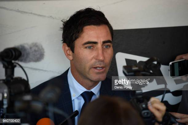 General Manager of the San Diego Padres AJ Preller talks to the media on Opening Day against the Milwaukee Brewers at PETCO Park on March 29 2018 in...