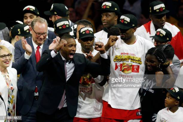 General Manager of the Toronto Raptors Masai Ujiri celebrates his teams victory over the Golden State Warriors to win Game Six of the 2019 NBA Finals...