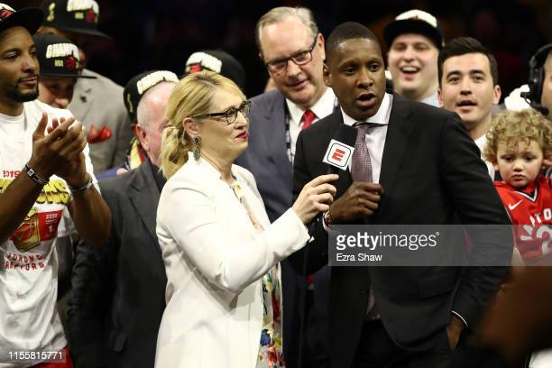 General Manager of the Toronto Raptors Masai Ujiri is interviewed after his teams victory over the Golden State Warriors to win Game Six of the 2019...