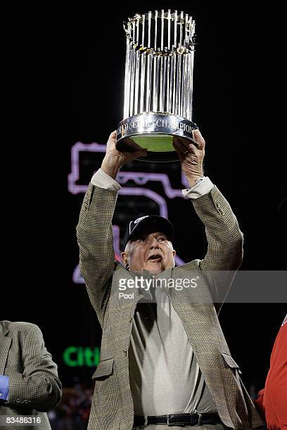 General Manager Pat Gillick of of the Philadelphia Phillies celebrates with the World Series trophy after their 43 win against the Tampa Bay Rays...