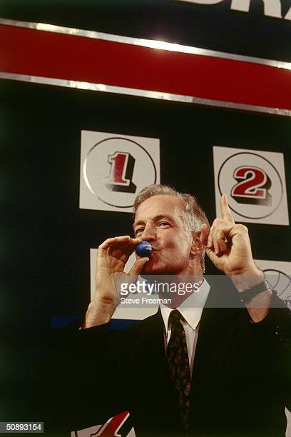 General Manager Pat Williams of the Orlando Magic receives the first selection in the 1993 NBA Draft by winning the draft lottery during the 1993 NBA...