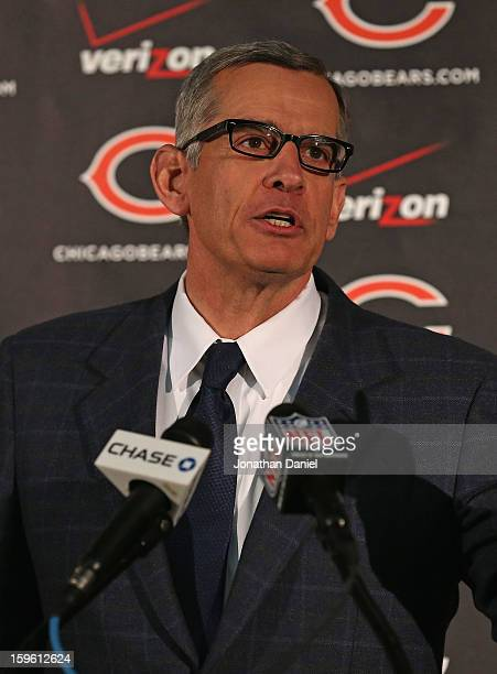 General manager Phil Emery of the Chicago Bears explains his choice of Marc Trestman to be the new head coach of the Bears at Halas Hall on January...