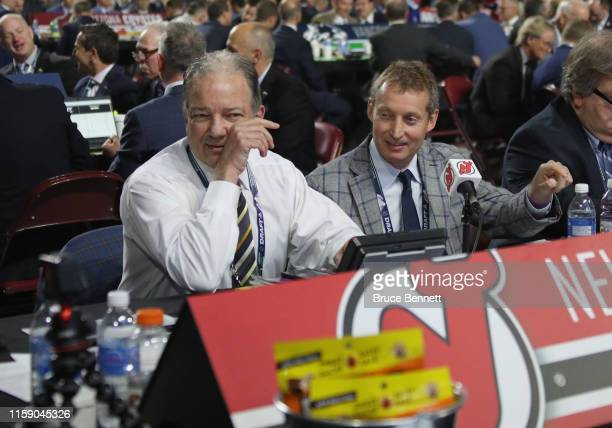 General Manager Ray Shero and the New Jersey Devils staff attend the 2019 NHL Draft at the Rogers Arena on June 22 2019 in Vancouver Canada