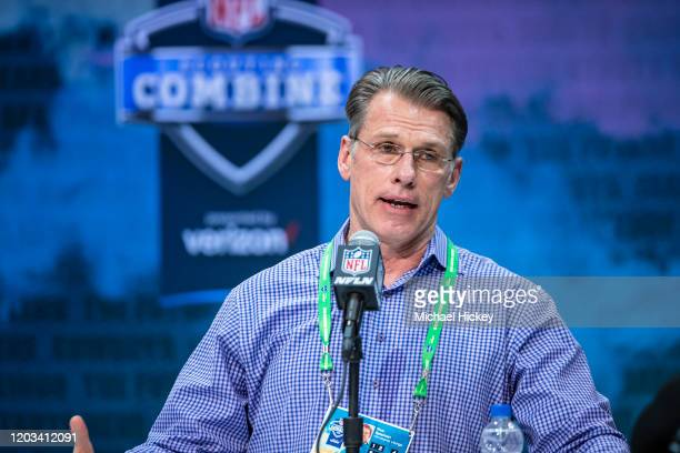 General manager Rick Speilman of the Minnesota Vikings speaks to the media at the Indiana Convention Center on February 25 2020 in Indianapolis...