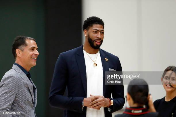 General Manager Rob Pelinka and Head Coach Frank Vogel introduce Anthony Davis of the Los Angeles Lakers to the media during a press conference on...
