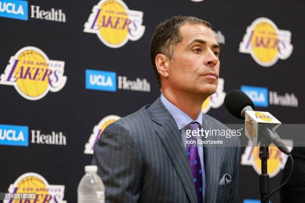 General Manager Rob Pelinka listening during the Los Angeles Lakers press conference to introduce their new head coach at the UCLA Health Training...