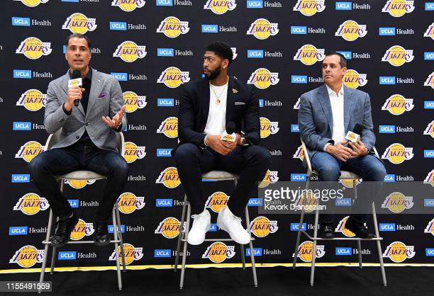 General manager Rob Pelinka speaks during news conference where he introduced the newest player of the Los Angeles Lakers Anthony Davis with head...