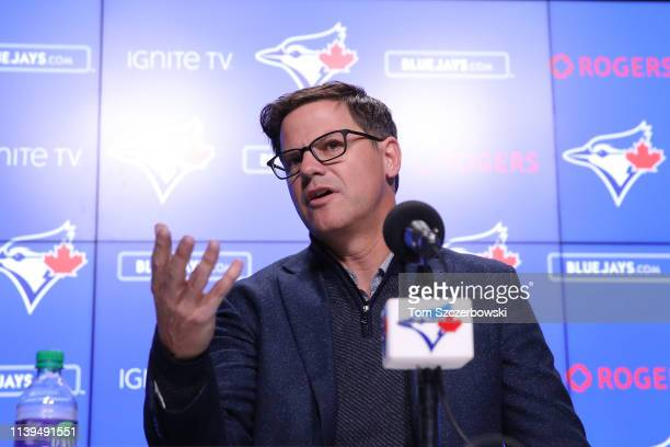 General manager Ross Atkins of the Toronto Blue Jays speaks to the media before introducing Vladimir Guerrero Jr #27 before his MLB debut later...