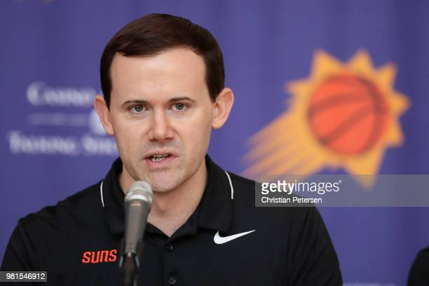 General Manager Ryan McDonough of the Phoenix Suns speaks during a press conference at Talking Stick Resort Arena on June 22 2018 in Phoenix Arizona...