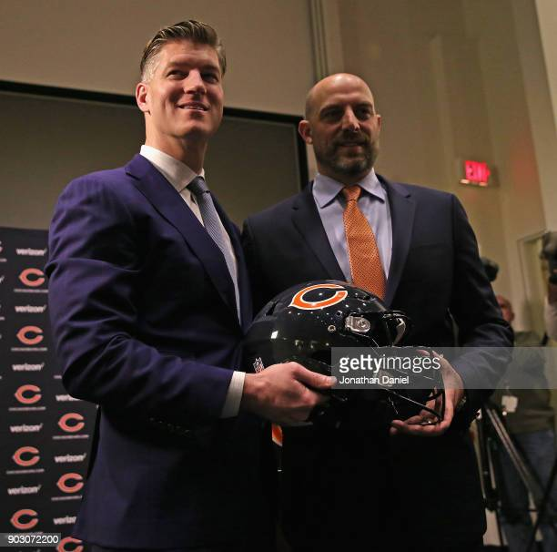 General manager Ryan Pace and new head coach Matt Nagy of the Chicago Bears pose after an introductory press conference at Halas Hall on January 9...