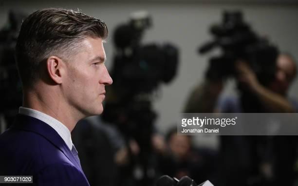 General manager Ryan Pace of the Chicago Bears speaks to the media during an introductory press conference for new head coach Matt Nagy at Halas Hall...