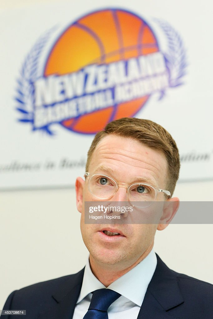 General Manager Sam Presti of the Oklahoma City Thunder speaks to media at a press conference during the New Zealand Basketball Academy Launch at ASB Sports Centre on August 17, 2014 in Wellington, New Zealand.
