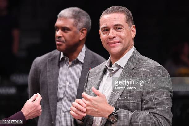 General Manager Scott Perry and President Steve Mills of the New York Knicks before the preseason game against the Brooklyn Nets at Barclays Center...
