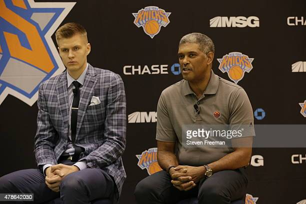 General Manager Steve Mills and Kristaps Porzingis first round Draft pick of the New York Knicks talk to the media at the Madison Square Garden...