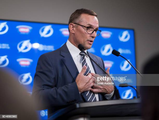 General Manager Steve Yzerman of the Tampa Bay Lightning discusses the trades from earlier in the day during a press conference before the game...