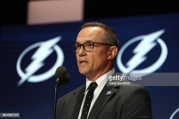 General manager Steve Yzerman of the Tampa Bay Lightning speaks onstage during Round One of the 2017 NHL Draft at United Center on June 23 2017 in...