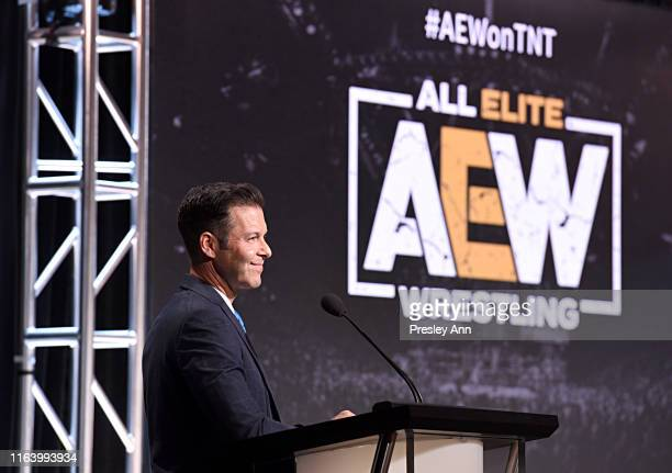 General Manager TBS TNT and truTV Brett Weitz speaks onstage at the All Elite Wrestling panel during the TBS TNT Summer TCA 2019 at The Beverly...