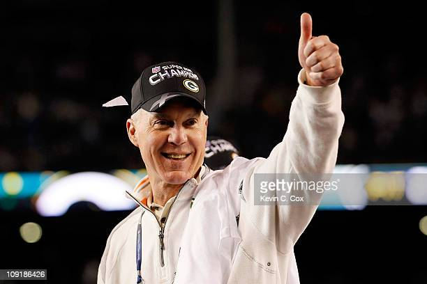 General Manager Ted Thompson of the Green Bay Packers celebrates after the Packers won 3125 against the Pittsburgh Steelers during Super Bowl XLV at...