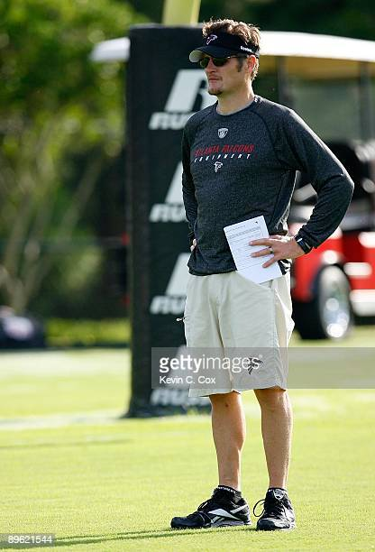 General manager Thomas Dimitroff of the Atlanta Falcons during opening day of training camp on August 1 2009 at the Falcons Training Complex in...