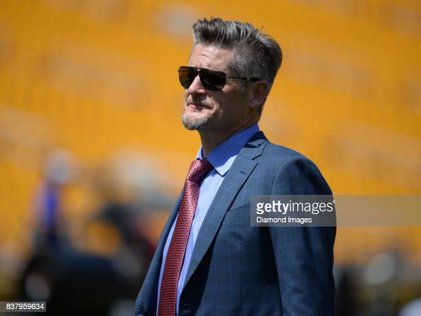 General manager Thomas Dimitroff of the Atlanta Falcons stands on the field prior to a preseason game on August 20 2017 against the Pittsburgh...