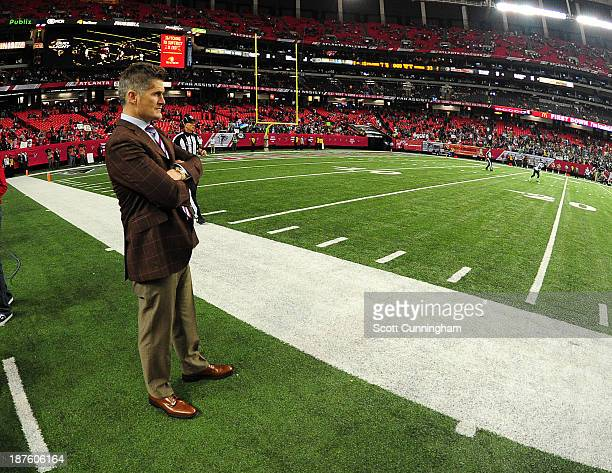 General Manager Thomas Dimitroff of the Atlanta Falcons watches play late in the game against the Seattle Seahawks at the Georgia Dome on November 10...