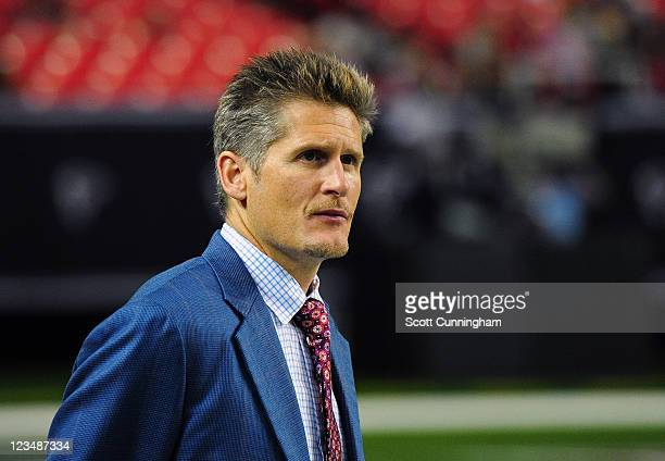 General Manager Thomas Dimitroff of the Atlanta Falcons watches the action against the Baltimore Ravens during a preseason game at the Georgia Dome...