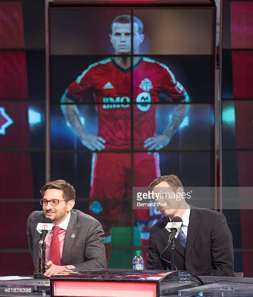 General Manager Tim Bezbatchenko and head coach Greg Vanney introduced their latest signing Sebastian Giovinco during a press conference at the Air...