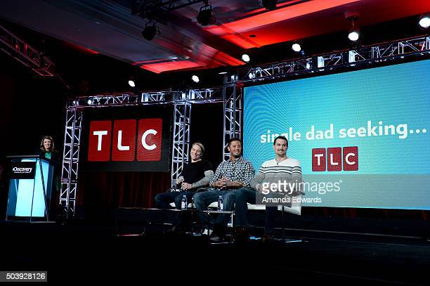 General Manager TLC Nancy Daniels and TV personalities Mike McGill Paul Sanderson and Jason Bunch of 'Single Dad Seeking' speak onstage during the...