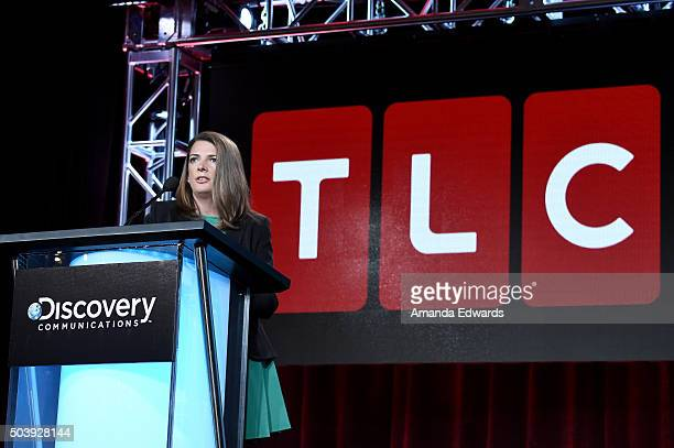 General Manager TLC Nancy Daniels speaks onstage during the Discovery Communications TCA Winter 2016 at The Langham Huntington Hotel and Spa on...